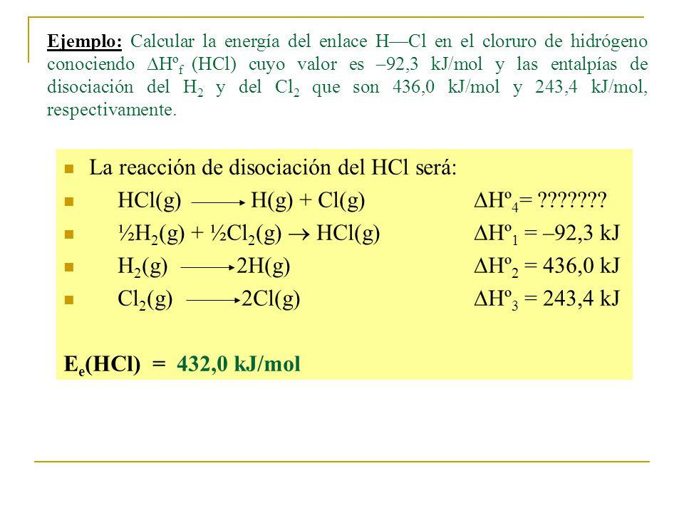 Ejemplo: Calcular la energía del enlace HCl en el cloruro de hidrógeno conociendo Hº f (HCl) cuyo valor es –92,3 kJ/mol y las entalpías de disociación del H 2 y del Cl 2 que son 436,0 kJ/mol y 243,4 kJ/mol, respectivamente.