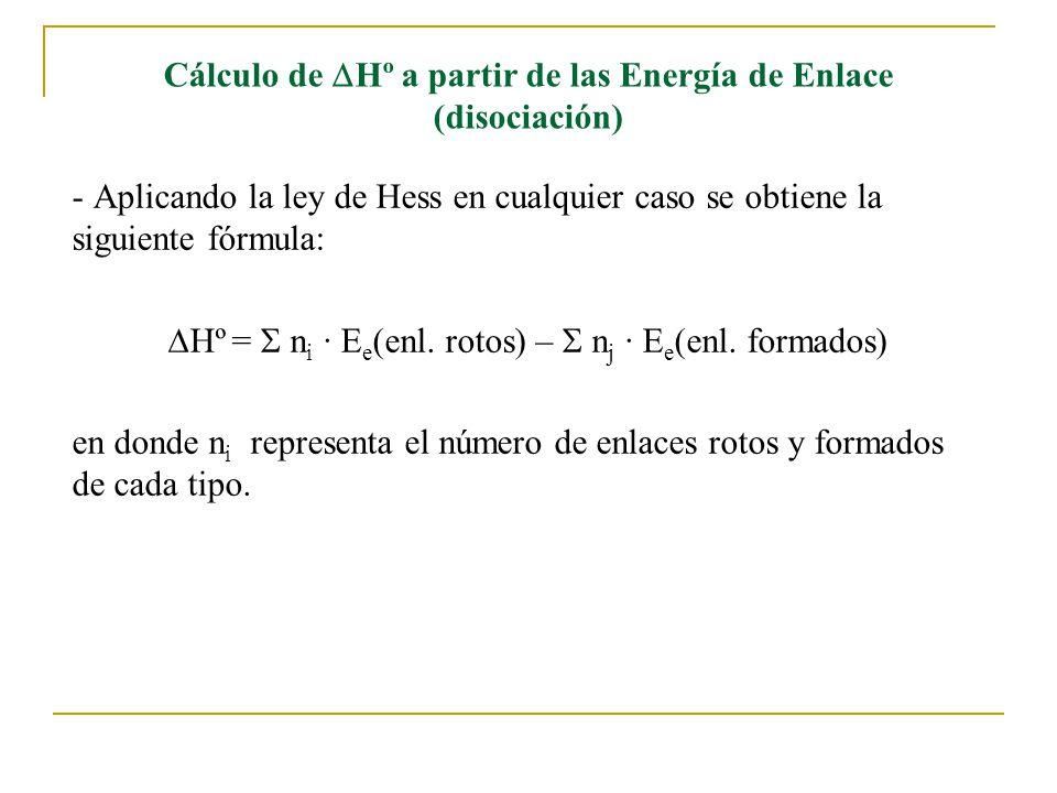 - Aplicando la ley de Hess en cualquier caso se obtiene la siguiente fórmula: Hº = n i · E e (enl.