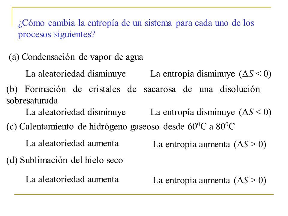 ¿Cómo cambia la entropía de un sistema para cada uno de los procesos siguientes.