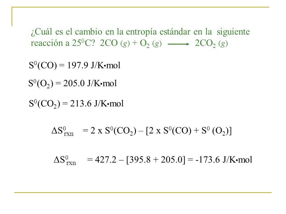¿Cuál es el cambio en la entropía estándar en la siguiente reacción a 25 0 C.