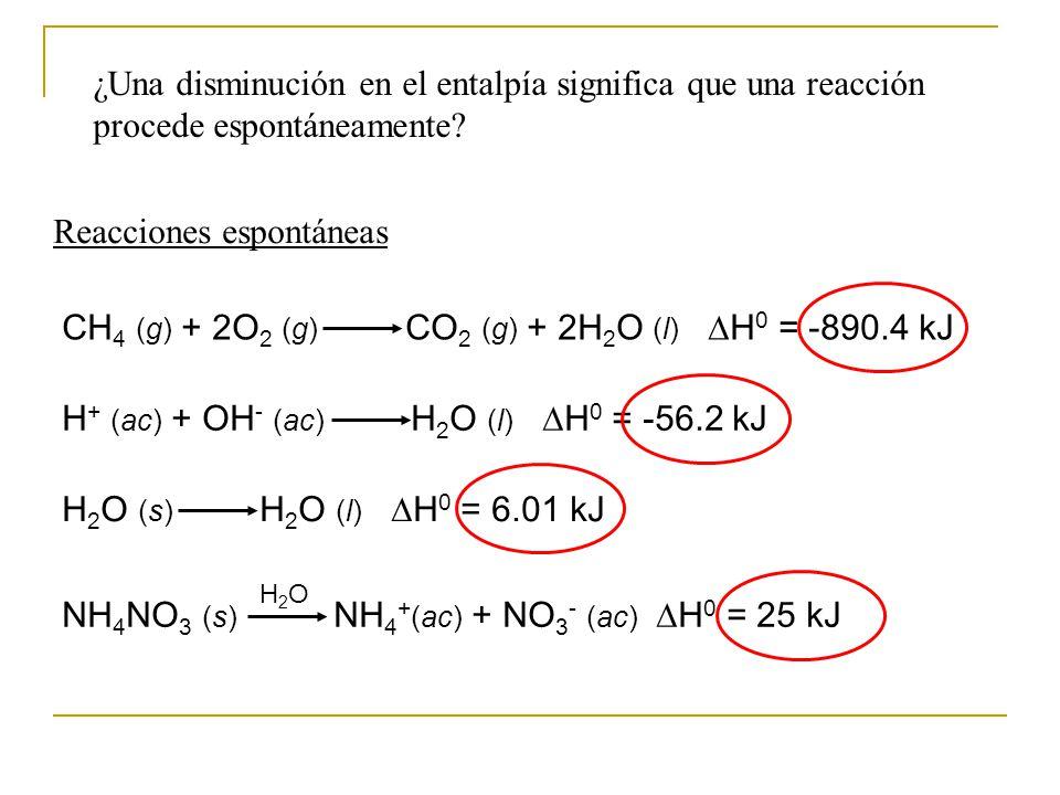 ¿Una disminución en el entalpía significa que una reacción procede espontáneamente.