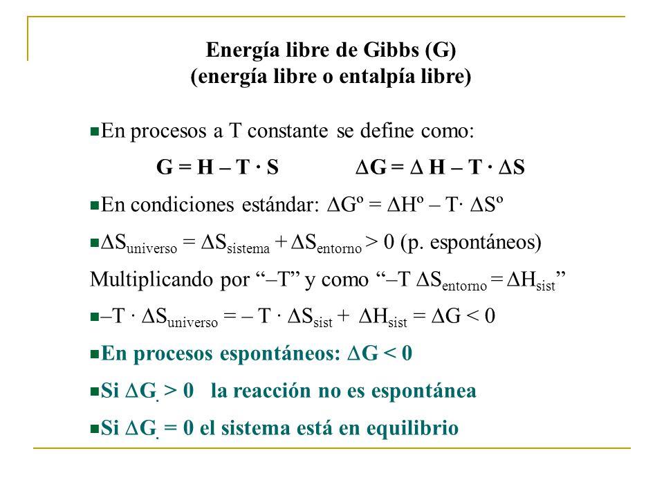 Energía libre de Gibbs (G) (energía libre o entalpía libre) En procesos a T constante se define como: G = H – T · S En condiciones estándar: Gº = Hº – T· Sº S universo = S sistema + S entorno > 0 (p.
