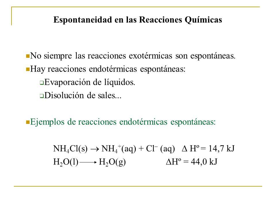 No siempre las reacciones exotérmicas son espontáneas.
