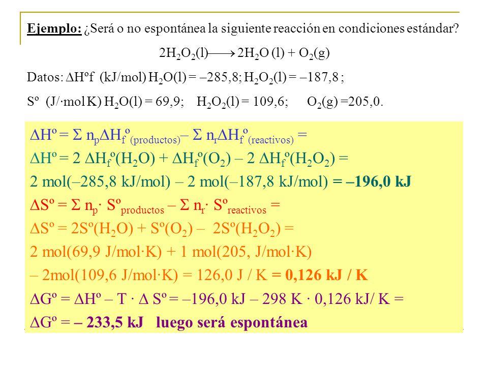 Ejemplo: ¿Será o no espontánea la siguiente reacción en condiciones estándar.