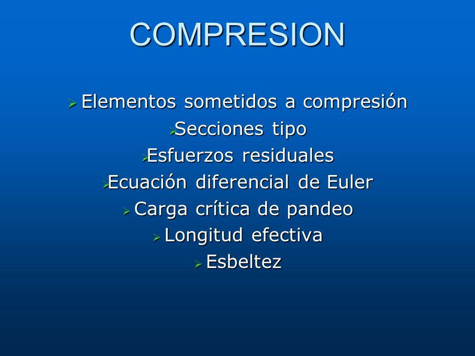 COMPRESION Elementos sometidos a compresión Elementos sometidos a compresión Secciones tipo Secciones tipo Esfuerzos residuales Esfuerzos residuales E