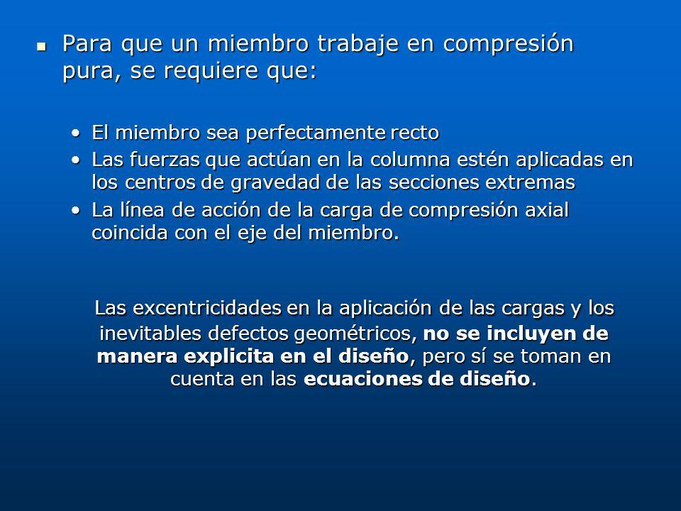 Para que un miembro trabaje en compresión pura, se requiere que: Para que un miembro trabaje en compresión pura, se requiere que: El miembro sea perfe