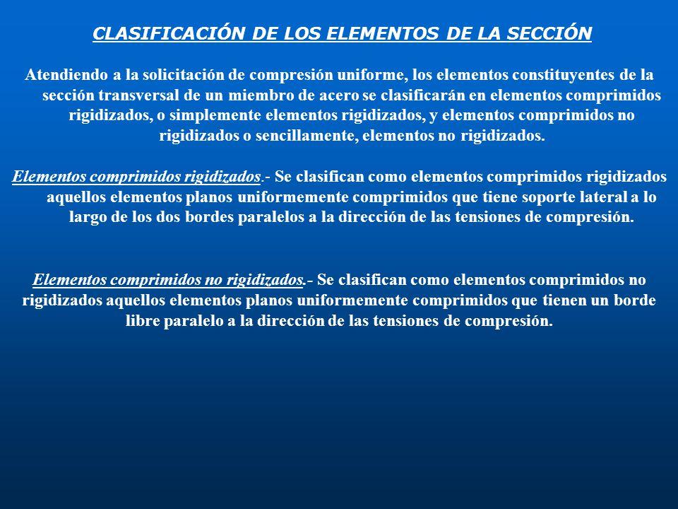 CLASIFICACIÓN DE LOS ELEMENTOS DE LA SECCIÓN Atendiendo a la solicitación de compresión uniforme, los elementos constituyentes de la sección transvers