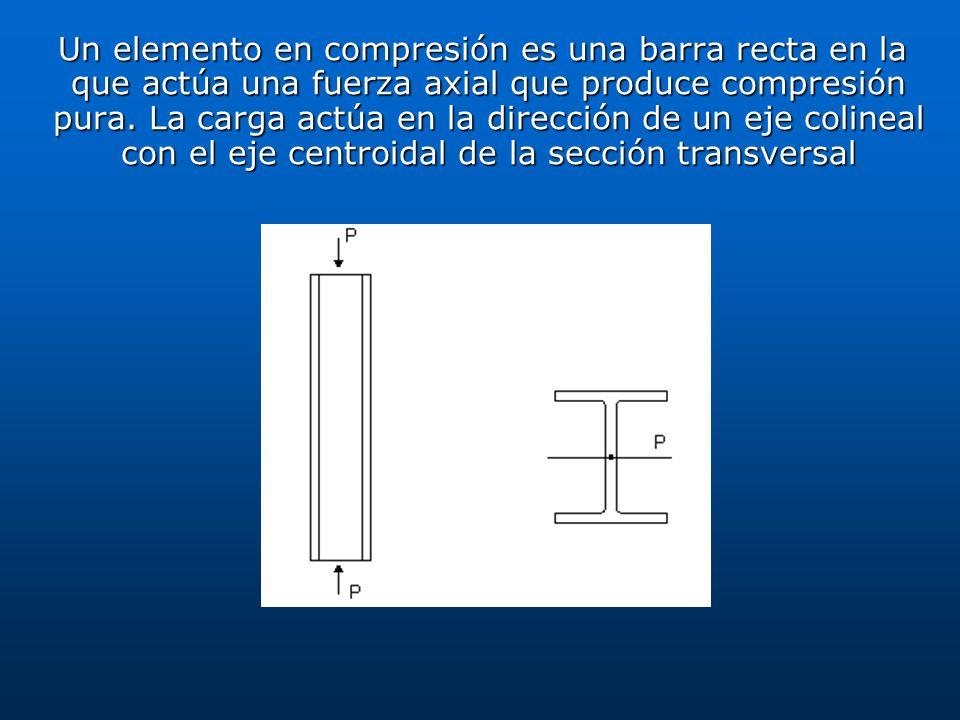 Un elemento en compresión es una barra recta en la que actúa una fuerza axial que produce compresión pura. La carga actúa en la dirección de un eje co