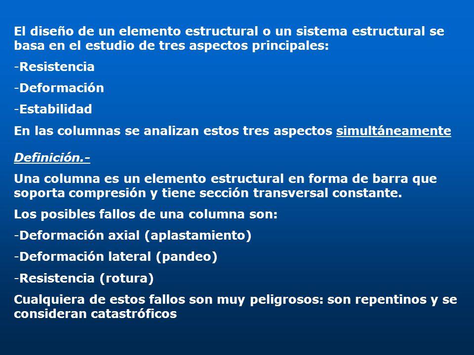 El diseño de un elemento estructural o un sistema estructural se basa en el estudio de tres aspectos principales: -Resistencia -Deformación -Estabilid