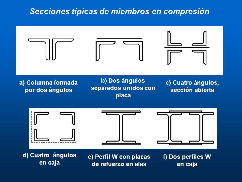Secciones típicas de miembros en compresión a) Columna formada por dos ángulos b) Dos ángulos separados unidos con placa c) Cuatro ángulos, sección ab