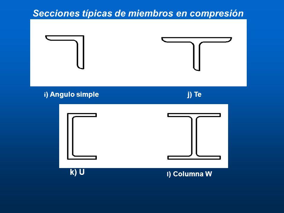 i ) Angulo simplej) Te k) U l ) Columna W Secciones típicas de miembros en compresión