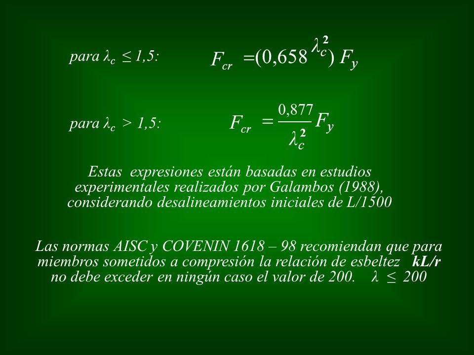 para λ c 1,5: 2 FyFy F cr λcλc 0,877 Estas expresiones están basadas en estudios experimentales realizados por Galambos (1988), considerando desalinea