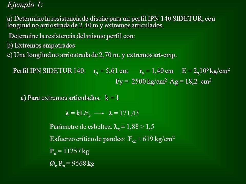 Ejemplo 1: a) Determine la resistencia de diseño para un perfil IPN 140 SIDETUR, con longitud no arriostrada de 2,40 m y extremos articulados. Determi