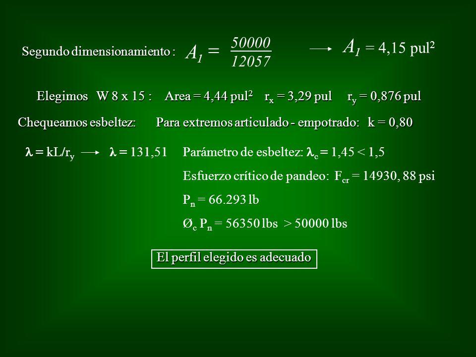 Segundo dimensionamiento : 12057 A 1 50000 = 4,15 pul 2 A 1 Elegimos W 8 x 15 : Area = 4,44 pul 2 r x = 3,29 pul r y = 0,876 pul Chequeamos esbeltez: