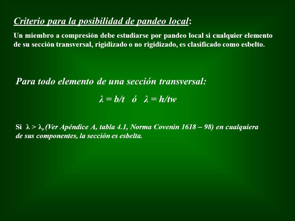 Criterio para la posibilidad de pandeo local: Un miembro a compresión debe estudiarse por pandeo local si cualquier elemento de su sección transversal
