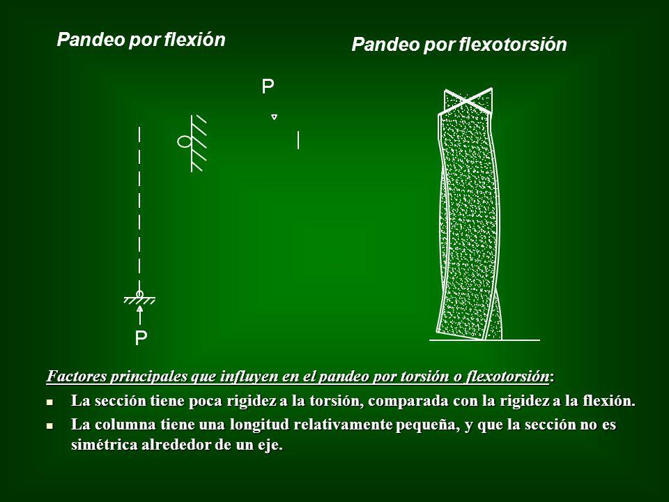 Pandeo por flexión Pandeo por flexotorsión P P Factores principales que influyen en el pandeo por torsión o flexotorsión: La sección tiene poca rigide