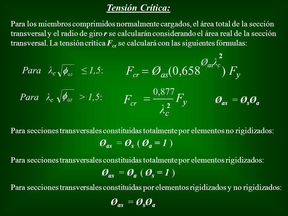 Tensión Crítica: Para los miembros comprimidos normalmente cargados, el área total de la sección transversal y el radio de giro r se calcularán consid