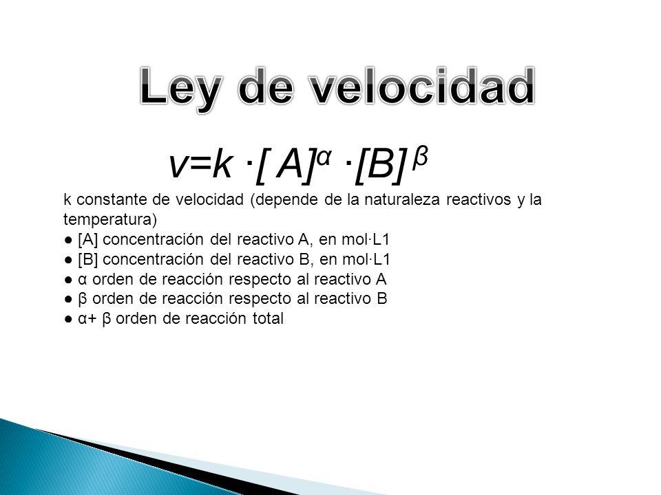 k constante de velocidad (depende de la naturaleza reactivos y la temperatura) [A] concentración del reactivo A, en molL1 [B] concentración del reacti