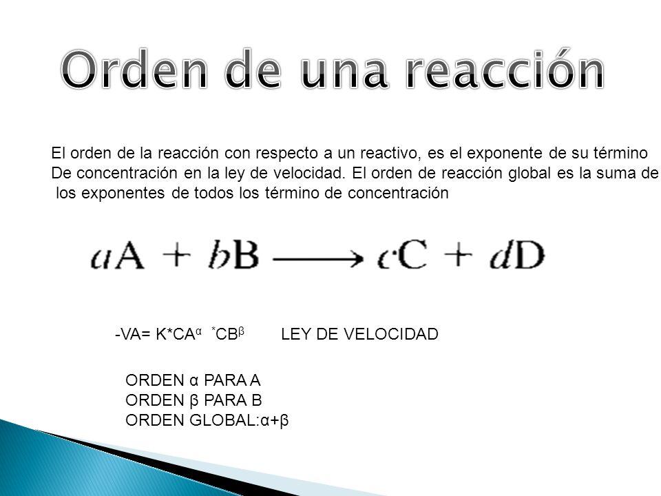 El orden de la reacción con respecto a un reactivo, es el exponente de su término De concentración en la ley de velocidad. El orden de reacción global