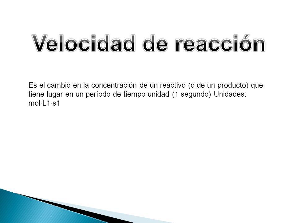 Es el cambio en la concentración de un reactivo (o de un producto) que tiene lugar en un período de tiempo unidad (1 segundo) Unidades: molL1s1