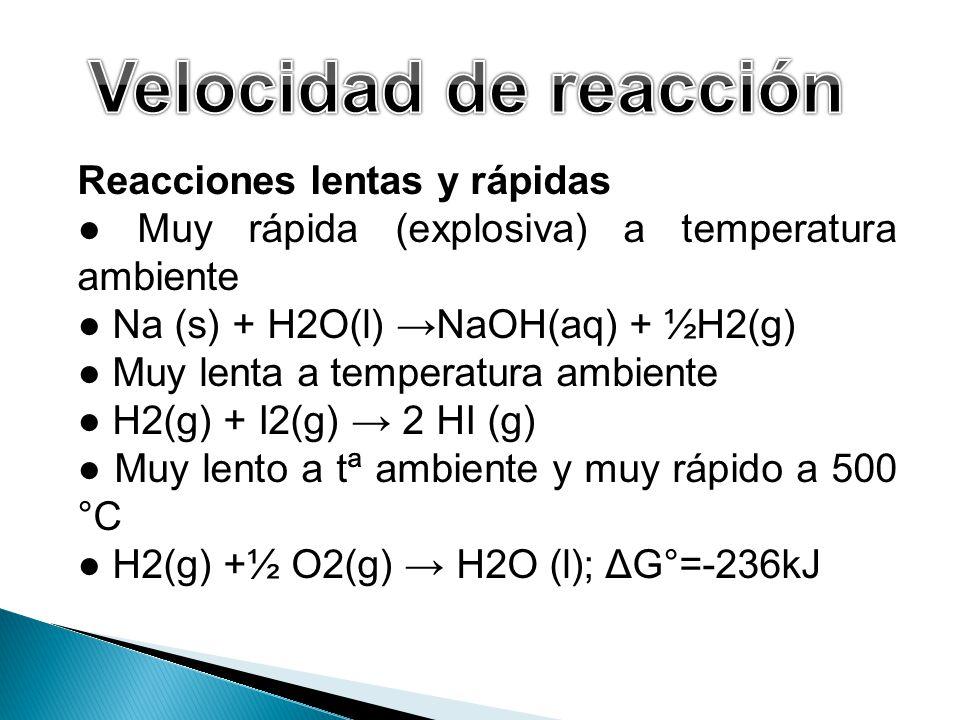 Reacciones lentas y rápidas Muy rápida (explosiva) a temperatura ambiente Na (s) + H2O(l) NaOH(aq) + ½H2(g) Muy lenta a temperatura ambiente H2(g) + I