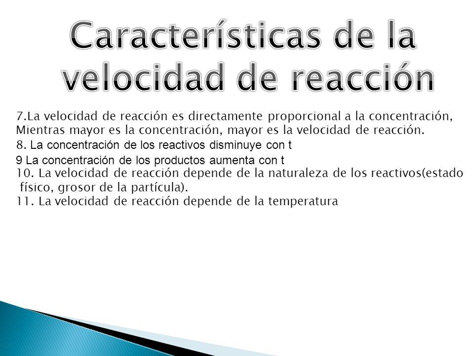 7.La velocidad de reacción es directamente proporcional a la concentración, Mientras mayor es la concentración, mayor es la velocidad de reacción. 8.