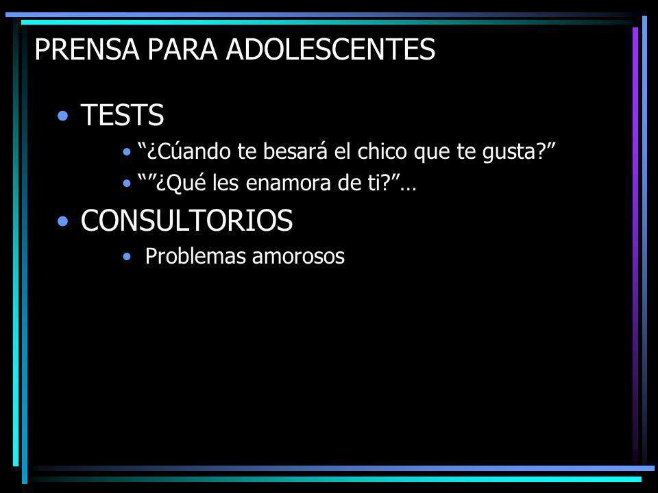 PRENSA PARA ADOLESCENTES TESTS ¿Cúando te besará el chico que te gusta.