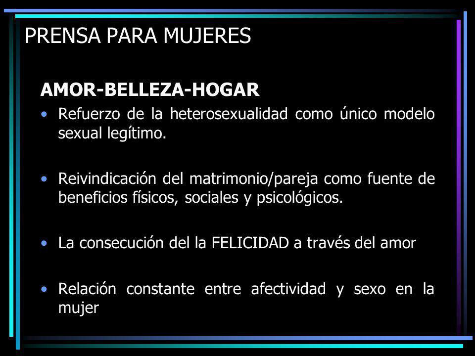 PRENSA PARA MUJERES AMOR-BELLEZA-HOGAR Refuerzo de la heterosexualidad como único modelo sexual legítimo.