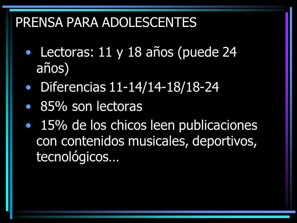 Lectoras: 11 y 18 años (puede 24 años) Diferencias 11-14/14-18/18-24 85% son lectoras 15% de los chicos leen publicaciones con contenidos musicales, deportivos, tecnológicos…