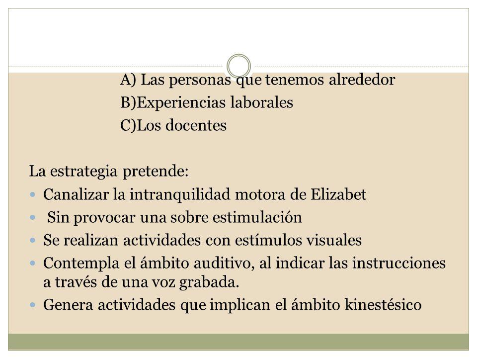 A) Las personas que tenemos alrededor B)Experiencias laborales C)Los docentes La estrategia pretende: Canalizar la intranquilidad motora de Elizabet S