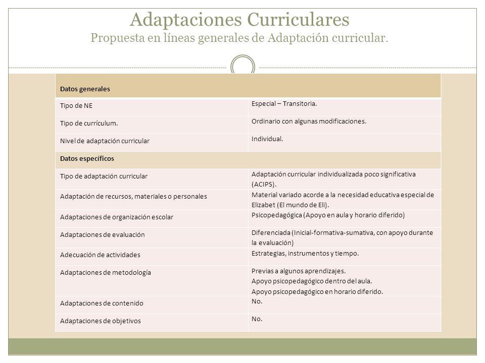 Adaptaciones Curriculares Propuesta en líneas generales de Adaptación curricular. Datos generales Tipo de NE Especial – Transitoria. Tipo de currículu
