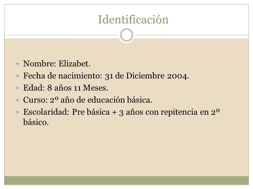 Identificación Nombre: Elizabet. Fecha de nacimiento: 31 de Diciembre 2004. Edad: 8 años 11 Meses. Curso: 2º año de educación básica. Escolaridad: Pre