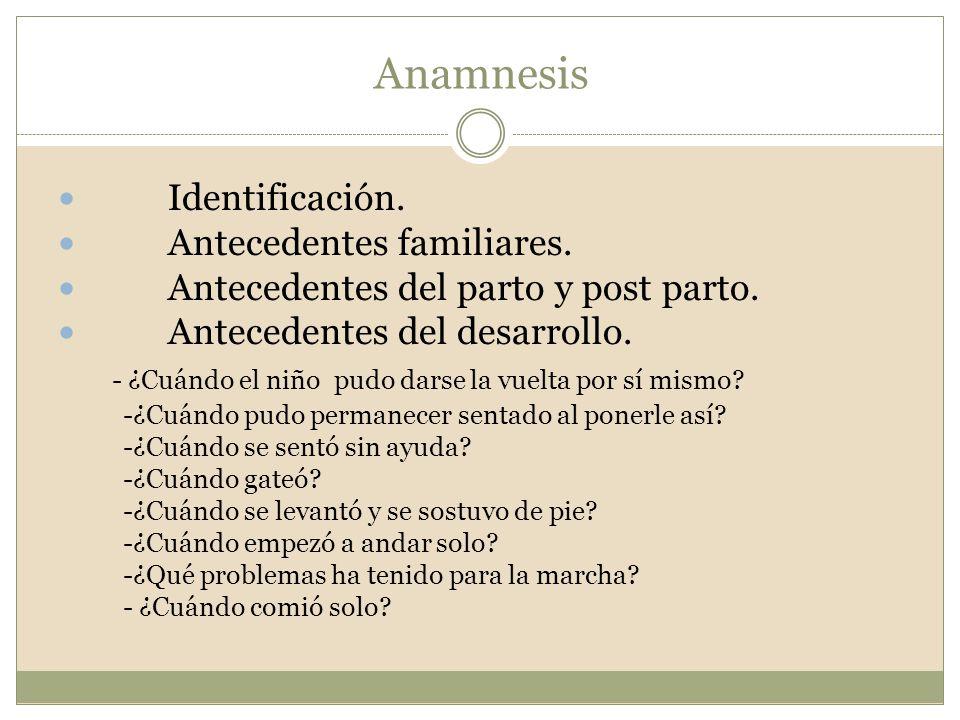 Anamnesis Identificación. Antecedentes familiares. Antecedentes del parto y post parto. Antecedentes del desarrollo. - ¿Cuándo el niño pudo darse la v