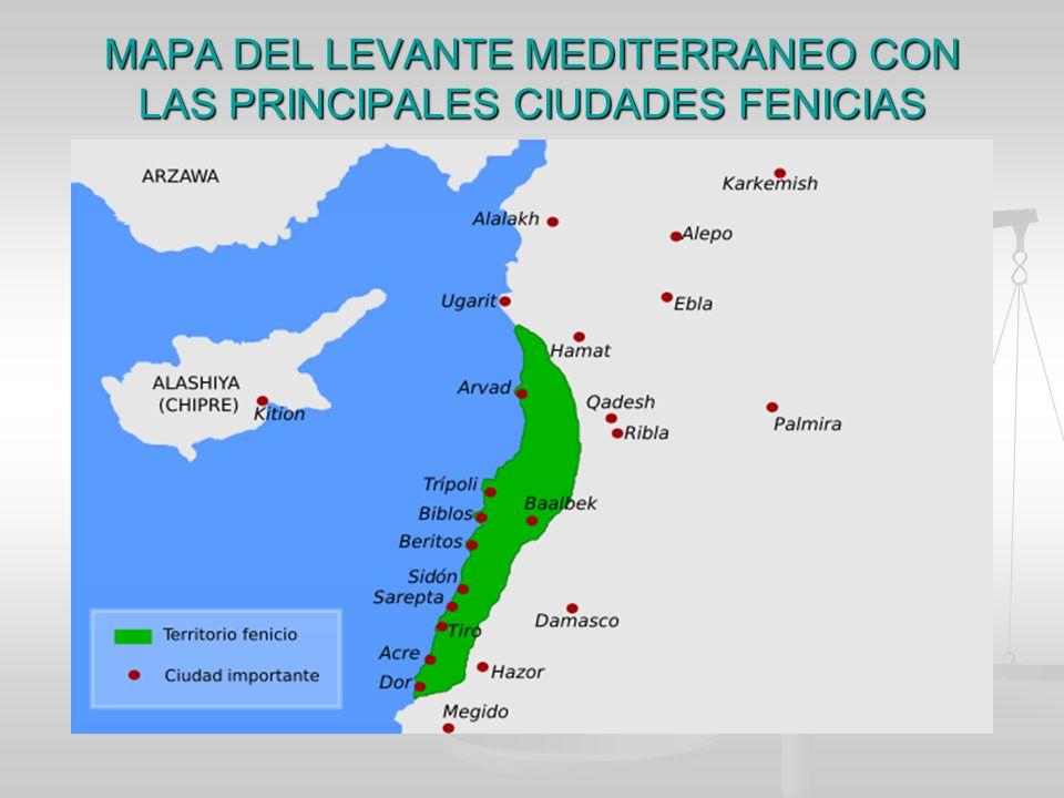 MAPA DEL LEVANTE MEDITERRANEO CON LAS PRINCIPALES CIUDADES FENICIAS