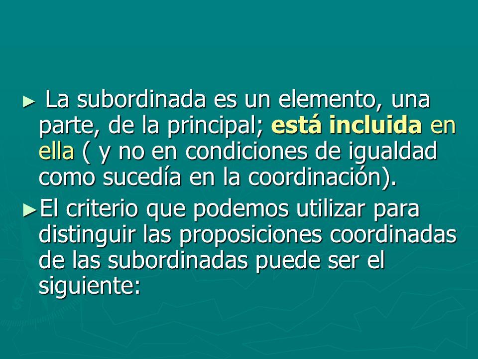 La subordinada es un elemento, una parte, de la principal; está incluida en ella ( y no en condiciones de igualdad como sucedía en la coordinación). L