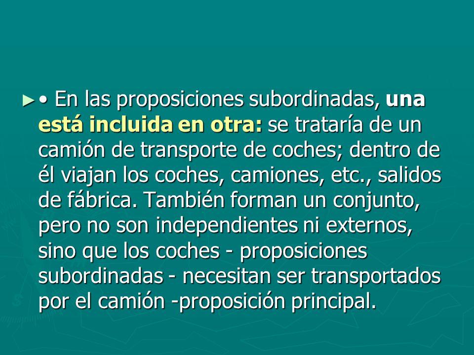 En las proposiciones subordinadas, una está incluida en otra: se trataría de un camión de transporte de coches; dentro de él viajan los coches, camion