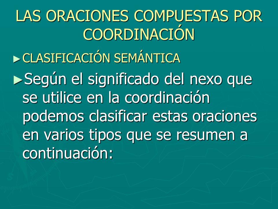 LAS ORACIONES COMPUESTAS POR COORDINACIÓN CLASIFICACIÓN SEMÁNTICA CLASIFICACIÓN SEMÁNTICA Según el significado del nexo que se utilice en la coordinac