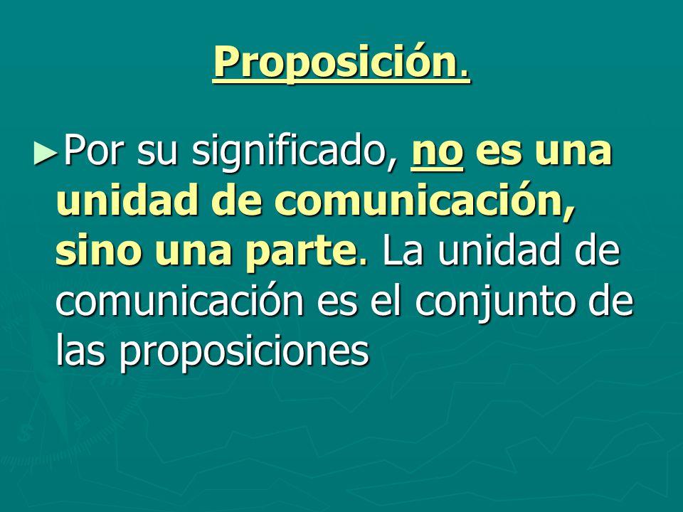 Proposición. Por su significado, no es una unidad de comunicación, sino una parte. La unidad de comunicación es el conjunto de las proposiciones Por s