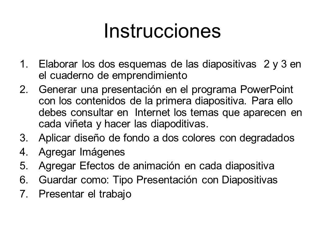 Instrucciones 1.Elaborar los dos esquemas de las diapositivas 2 y 3 en el cuaderno de emprendimiento 2.Generar una presentación en el programa PowerPoint con los contenidos de la primera diapositiva.