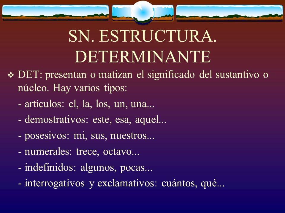 SN. ESTRUCTURA El sintagma nominal puede estar formado por los siguientes elementos: SN ( DET) NÚCLEO ( CN ) Ej: La increíble historia = DET + CN + N