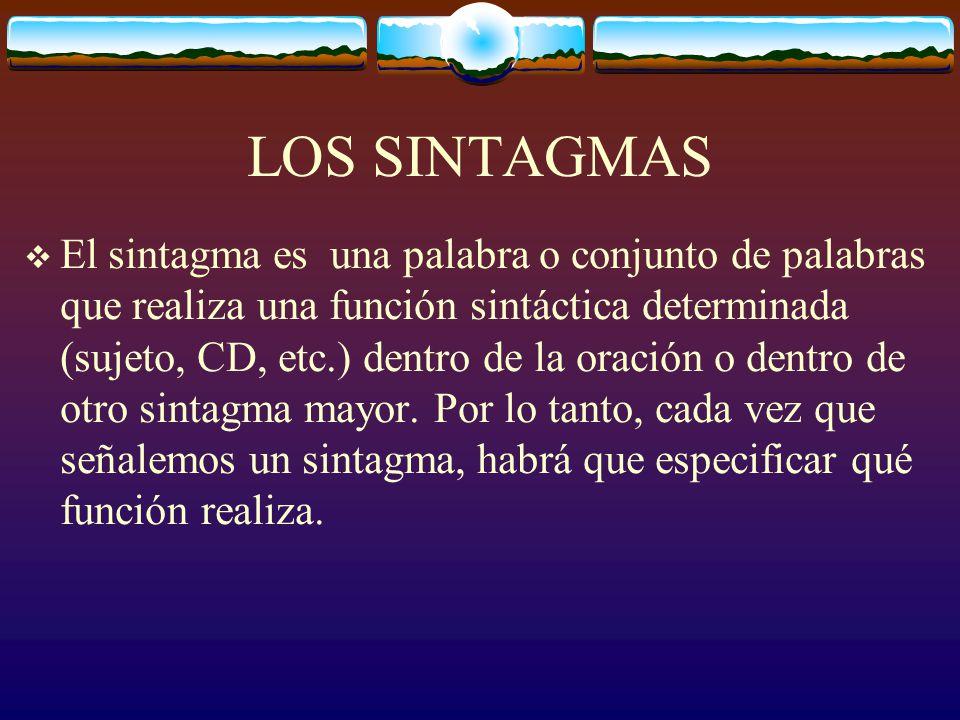 LOS SINTAGMAS El sintagma es una palabra o conjunto de palabras que realiza una función sintáctica determinada (sujeto, CD, etc.) dentro de la oración o dentro de otro sintagma mayor.