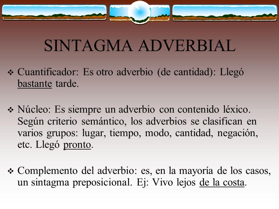 SINTAGMA ADVERBIAL (Sadv) Como ya puedes imaginar el sintagma adverbial posee como núcleo un adverbio y su estructura es similar a la del Sadj: -S.Adv