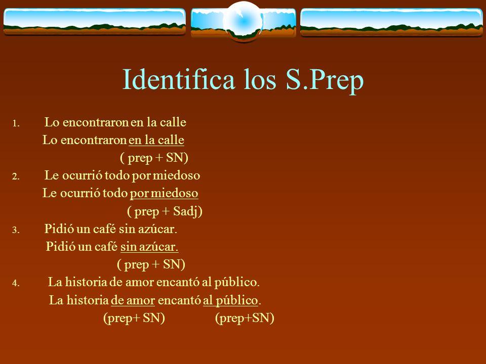 SINTAGMA PREPOSICIONAL (Sprep) El sintagma preposicional es el único que no toma su nombre del núcleo, ya que aunque siempre empieza con una preposici