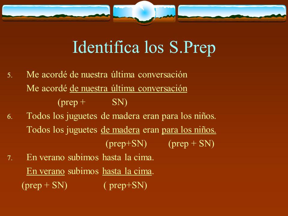 Identifica los S.Prep 1. Lo encontraron en la calle Lo encontraron en la calle ( prep + SN) 2. Le ocurrió todo por miedoso Le ocurrió todo por miedoso