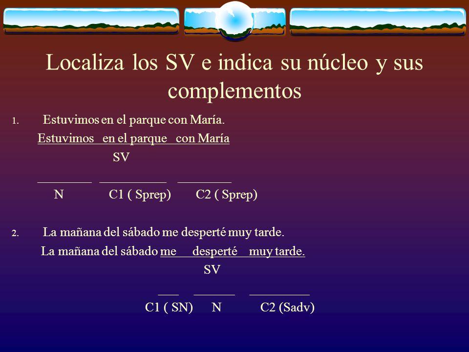 El sintagma verbal (SV) El SV es, junto con el SN, constituyente inmediato de la oración. Está formado por el verbo –que es el núcleo y que, por tanto