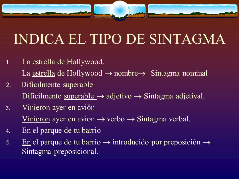 TIPOS DE SINTAGMAS Todos, menos el Sintagma Preposicional, reciben su nombre del núcleo del sintagma (por ej., el núcleo del SV es siempre un verbo, e