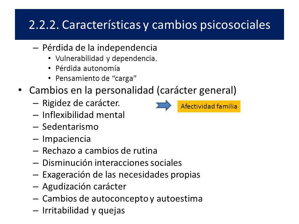 2.2.2. Características y cambios psicosociales – Pérdida de la independencia Vulnerabilidad y dependencia. Pérdida autonomía Pensamiento de carga Camb