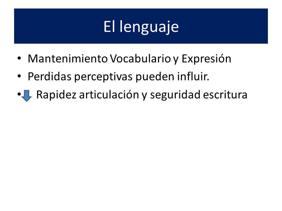 El lenguaje Mantenimiento Vocabulario y Expresión Perdidas perceptivas pueden influir. Rapidez articulación y seguridad escritura