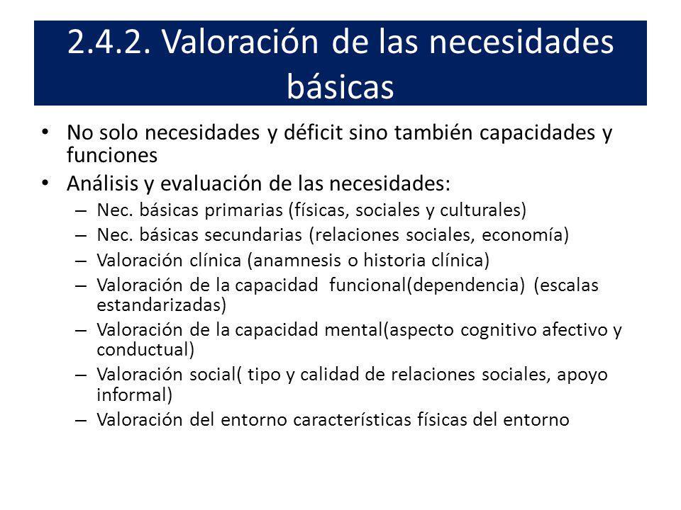 2.4.2. Valoración de las necesidades básicas No solo necesidades y déficit sino también capacidades y funciones Análisis y evaluación de las necesidad