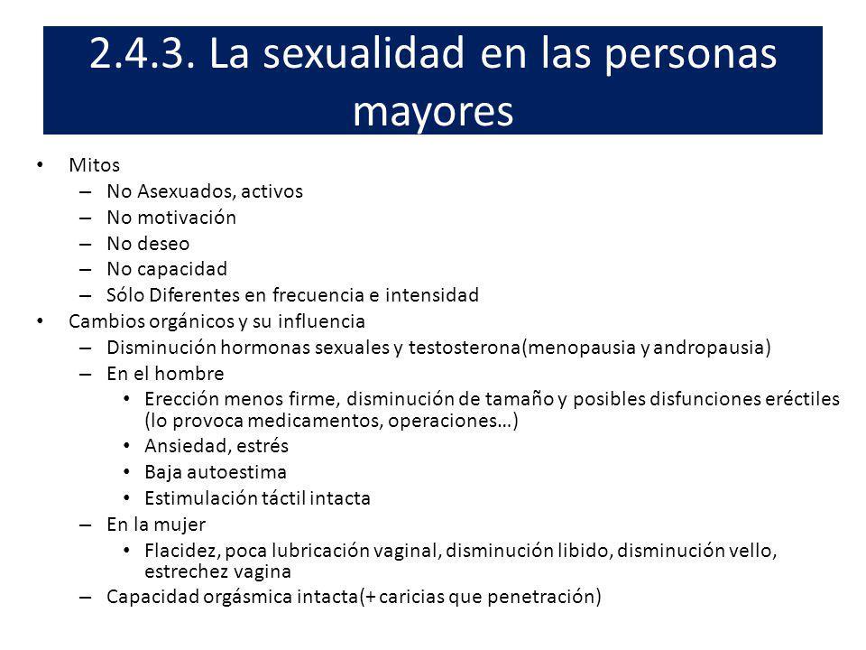 2.4.3. La sexualidad en las personas mayores Mitos – No Asexuados, activos – No motivación – No deseo – No capacidad – Sólo Diferentes en frecuencia e